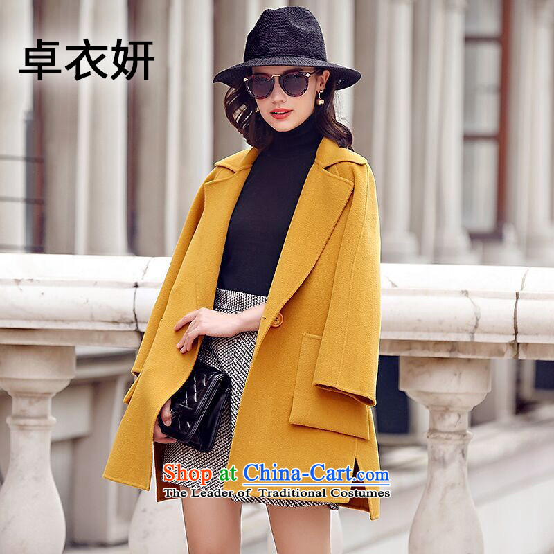 The fall of new, 1390_2015 stylish high-end relaxd dress woolen coats in yellow燣?