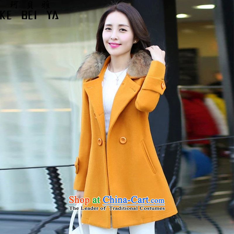 Memnarch Beja 2015 autumn and winter new Korean version of large numbers in length of Sau San for female K8818 jacket coat? ore Wong thick, L