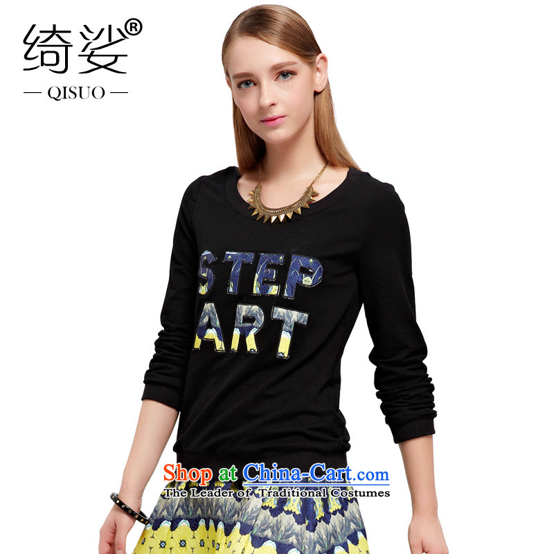 As to the provisions by 2015 XL female thick mm thick sister letters with autumn stamp loose video thin long-sleeved T-shirt?3XL 3038 Black