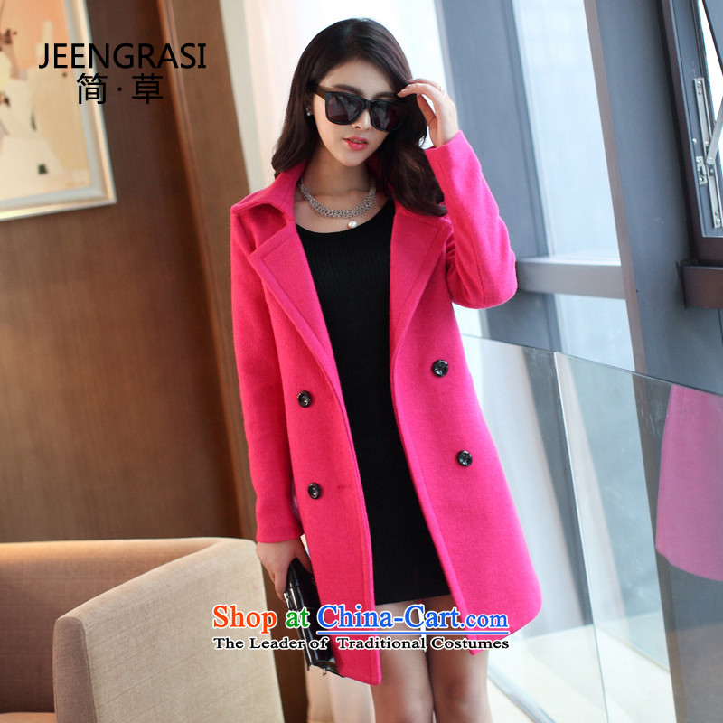 Pull the fuser�15 Korean female autumn and winter coats new cashmere long hair? Long butted in RED燤