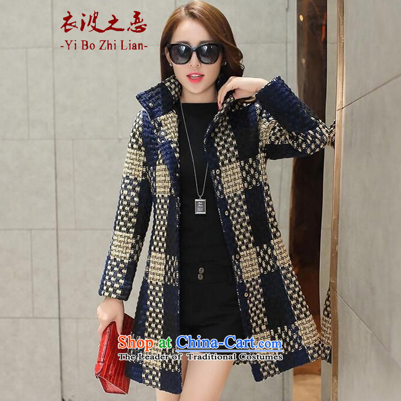Yi love wave 2015 new gross autumn and winter coats? In Korean long hair?   The winter coats jacketsX1502navy blue long-sleeved Package Mail Box