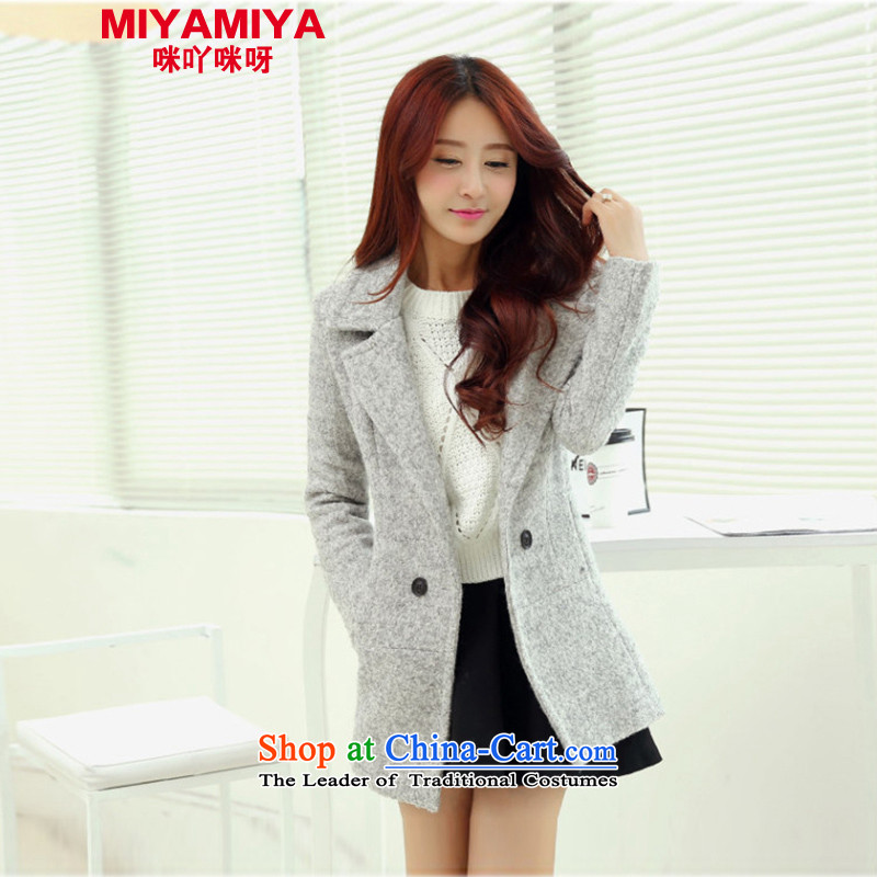 Miyamiya2015 autumn and winter new Korean female jacket maximum gross? In long thin thickened the video   double-ni-coats gray聽S