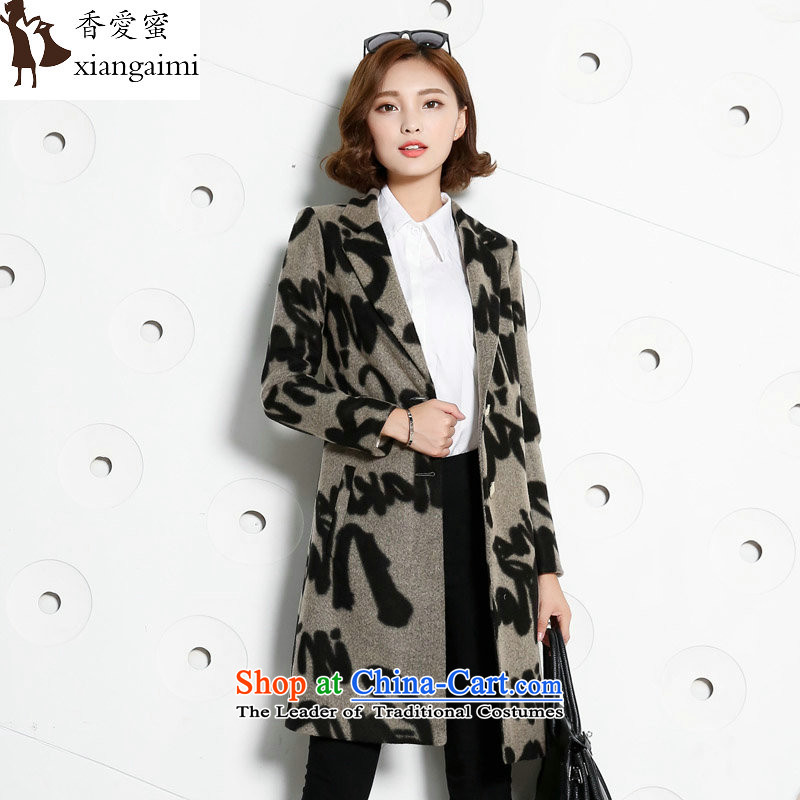 The Champs Elysees Honey Love 2015 autumn and winter new Western Street Leopard gross plain manual stylish wool-sided flannel Ms. coats of Sau San? long hair? Jacket Brown Sau San XXL