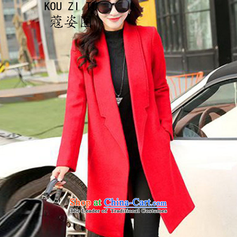 The Curtis Institute in the autumn and winter figure Gigi Lai long a wool coat jacket female RED M