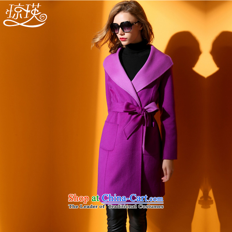 Qiongying windbreaker female wool coat long sleek? Maximum reverse collar cashmere warm jacket thin purple video  聽M