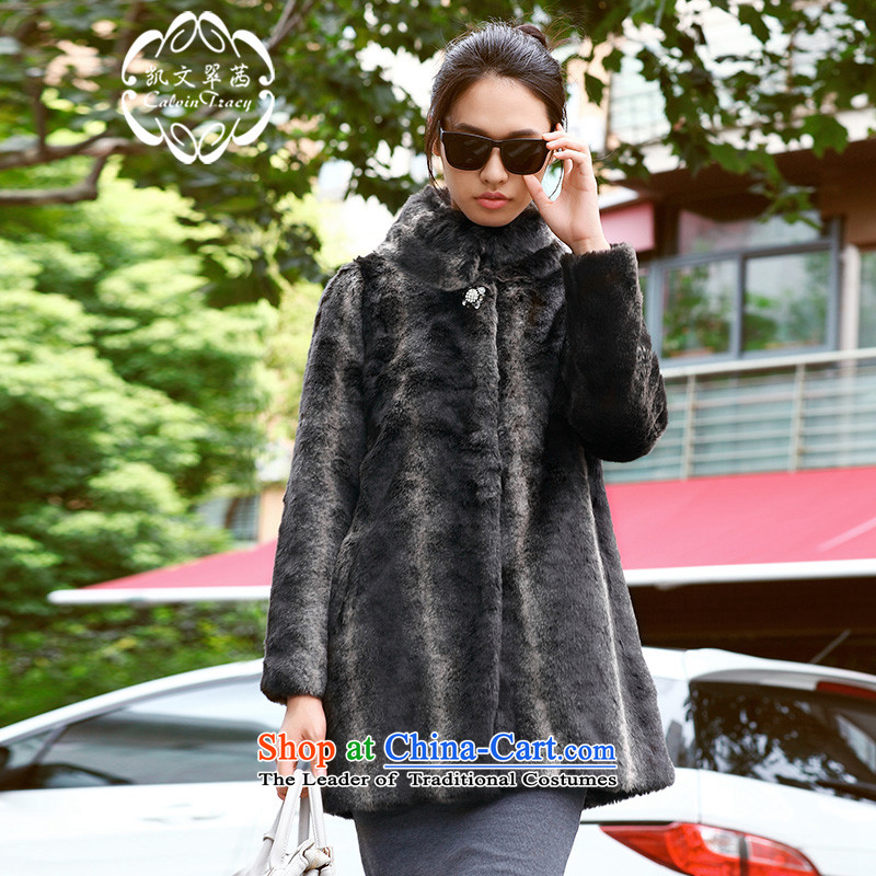 ? calvin tracy health Kevin Hong Kong Sin black with gray stripe Foutune of artificial fur warm jacket black with gray stripe燣