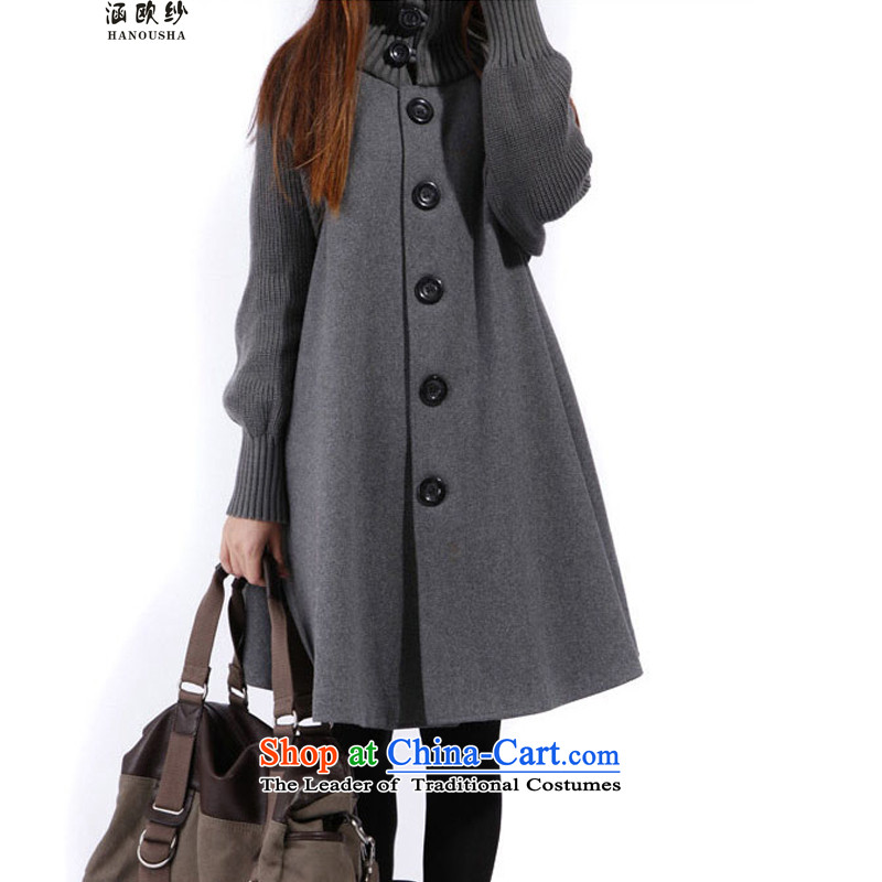 The OSCE is covered by the gross yarn jacket female Korean version of the spring and autumn 2015 long winter xl loose video thin long-sleeved cloak a wool coat Gray plus lint-free燲L