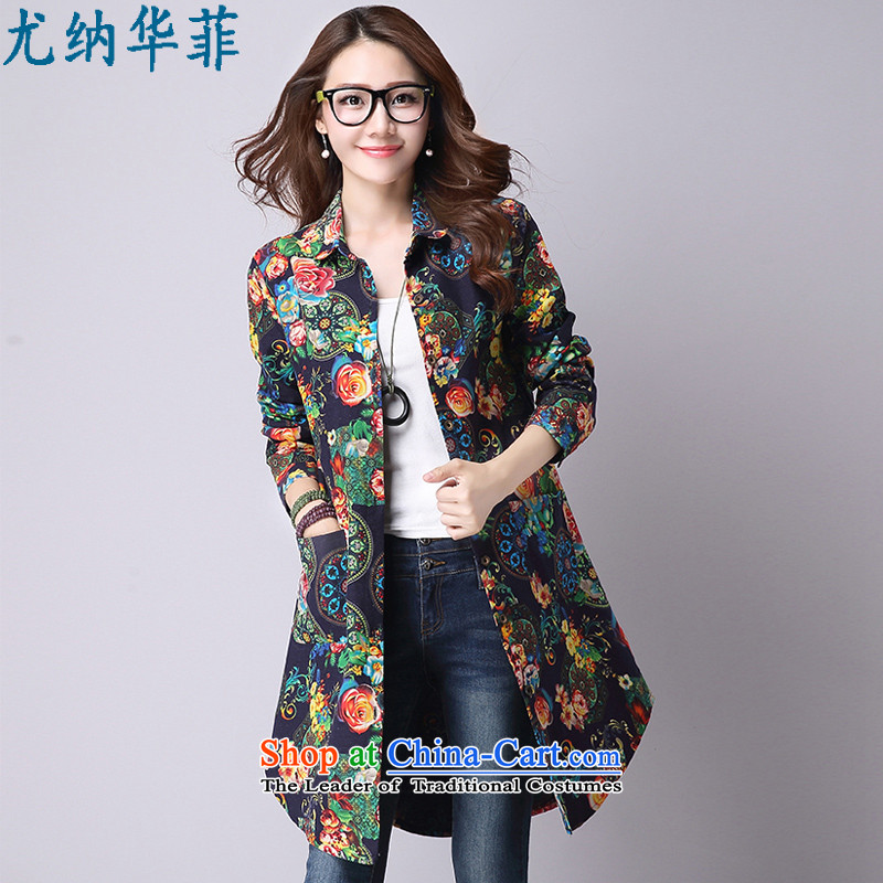 Juner China Philippines2015 new Korean version of large numbers during the spring and autumn graphics in thin long cotton linen shirt suit long sleeved shirtcolor photo of female 9241M