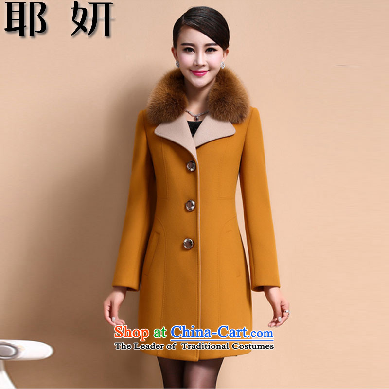 Charlene Choi 2015 autumn and winter and new cashmere overcoat girl?? in gross jacket long hair washable wool coat female 8853_? Yellow燲L