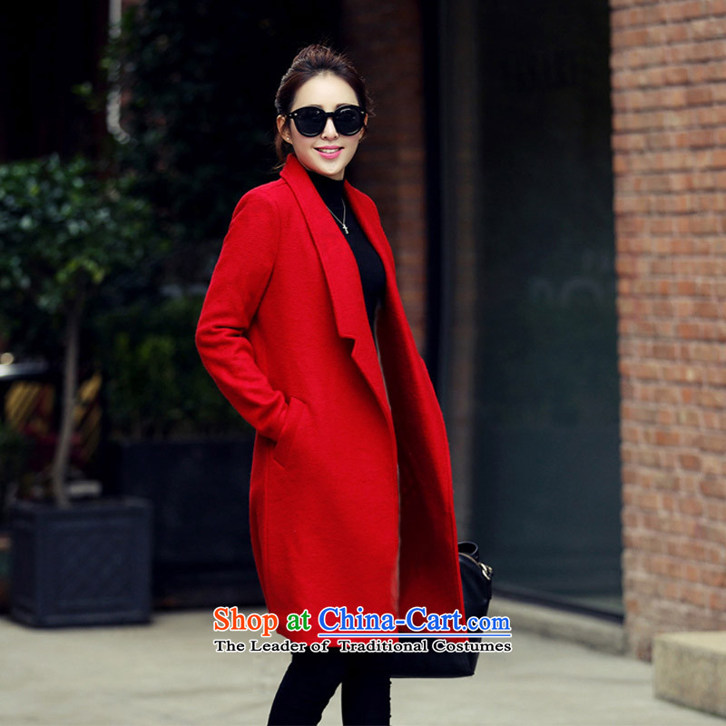 Sin has so gross jacket female new autumn 2015 Long, temperament a wool coat Korean women? coats thick coat RED M