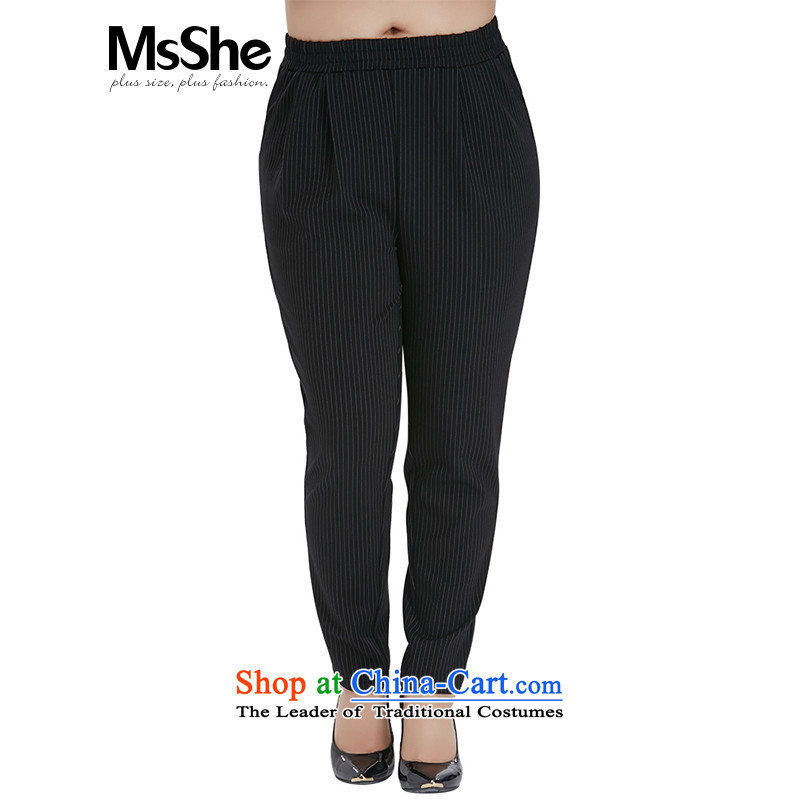 Msshe xl women 2015 new fall thick sister video thin replacing Harun 9 10746 trousers, white on black燭6