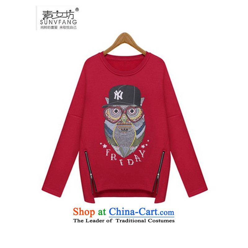 Motome workshop for larger female thick sister sweater 2015 autumn and winter new 200 catties thick MM owl thick plus lint-free kit and sweater 1685 red stamp owl 5XL 180-210 recommended weight catty