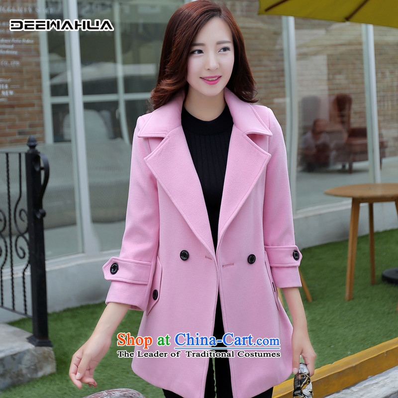 Deewahua2015 autumn and winter female new fall inside the girl child about? coats jacket in female long1816 pinkM