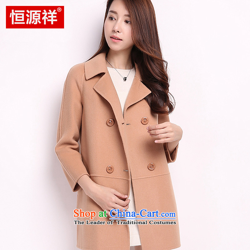 Hengyuan Cheung gross girls jacket? Long woolen coat female wool a wool coat female jacket for autumn and winter by new Korean sided flannel coats light coffee color? L
