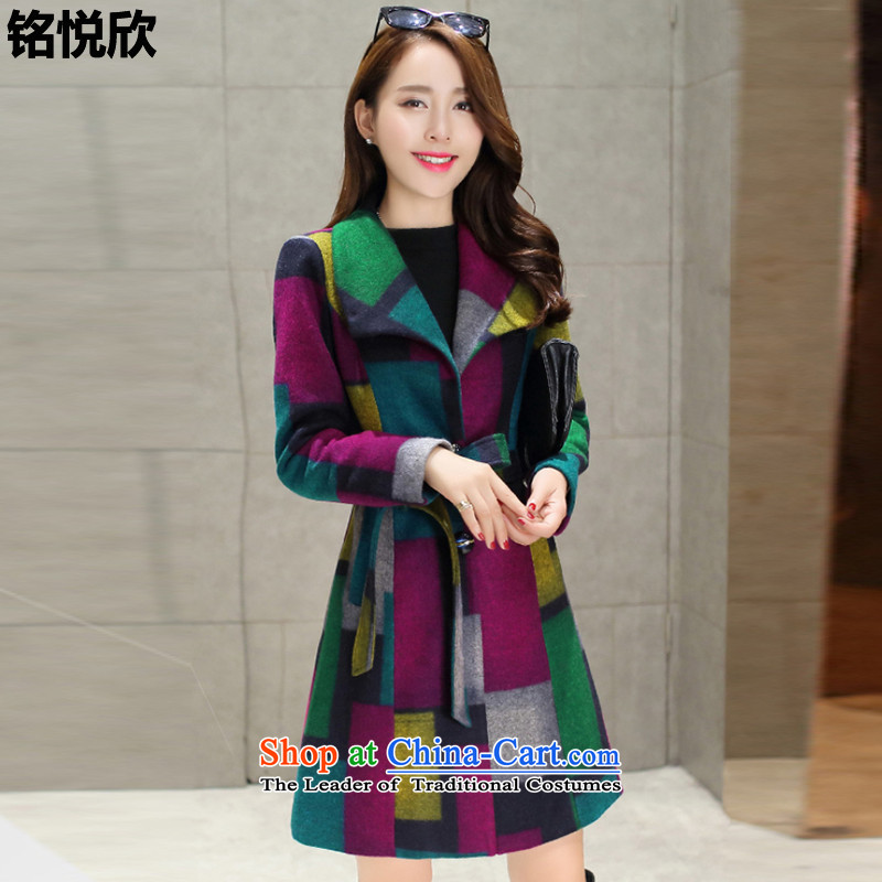 Martin Lee Yuexin 2015 Winter, replacing the new Korean tartan sub-coats of Sau San�  Q083燽lue,燲XL