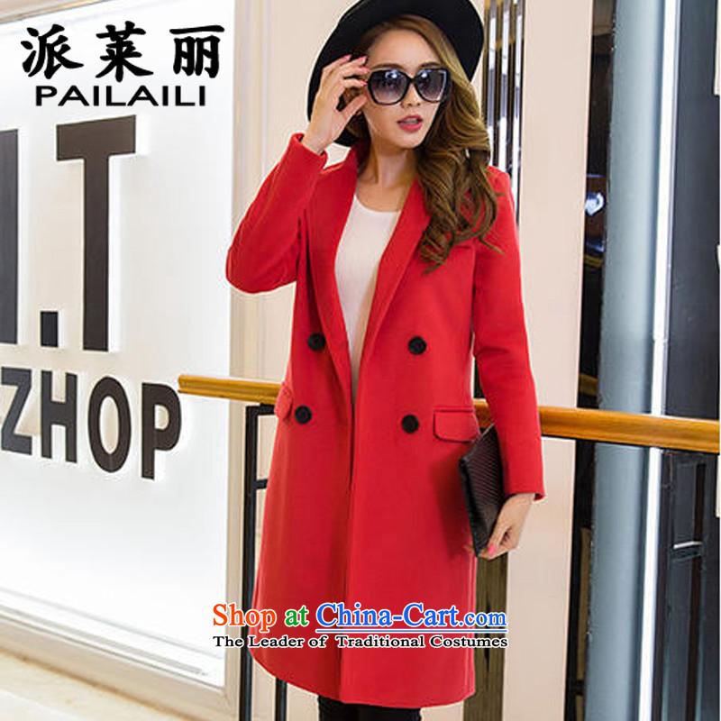 Send Valerie2015 winter new woolen coat girl child Korean?   in large long hair? jacket coat 1805 red color L
