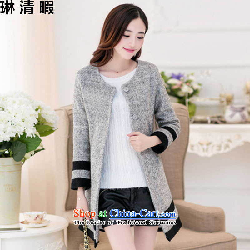 Lin Ching-pledged for autumn and winter new Korean female jacket coat gross? In the long graphics thin leisure Sau San wild lapel thick coat Female Light Gray燣