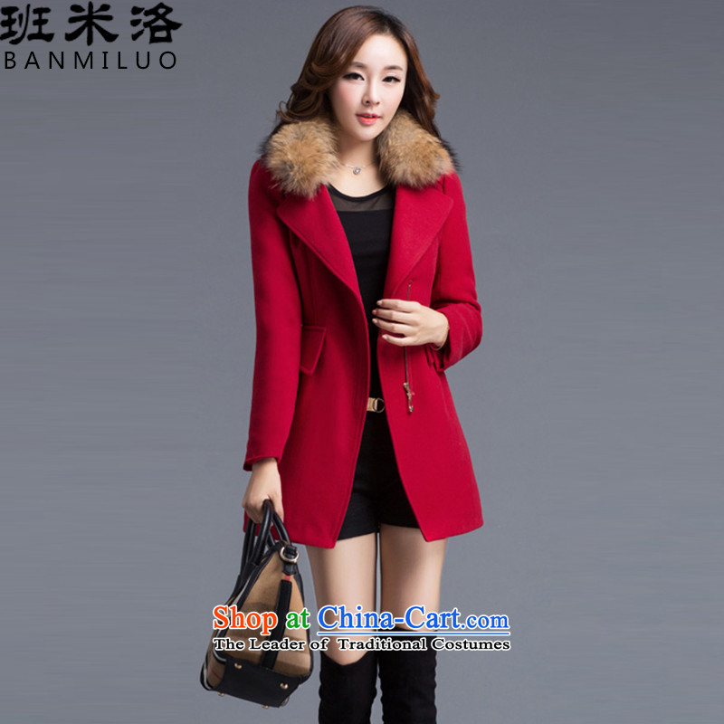 The Taliban Slobodan gross jacket female Korean? female in long wool coat _with? removable gross_ Red L