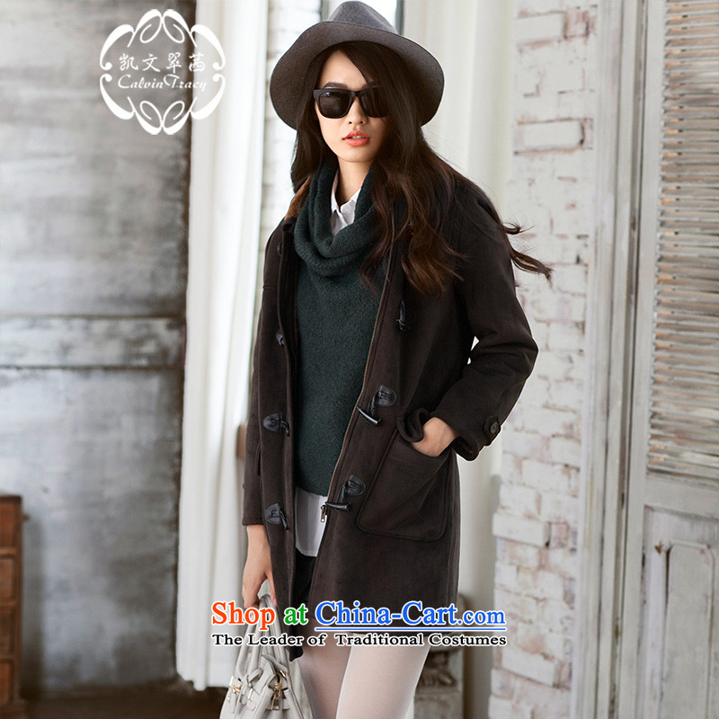 The elections as soon as possible to trim DU.MALLEXE�15 new thick leisure Korean girl in long Sau San with cap cotton coat brown燲L