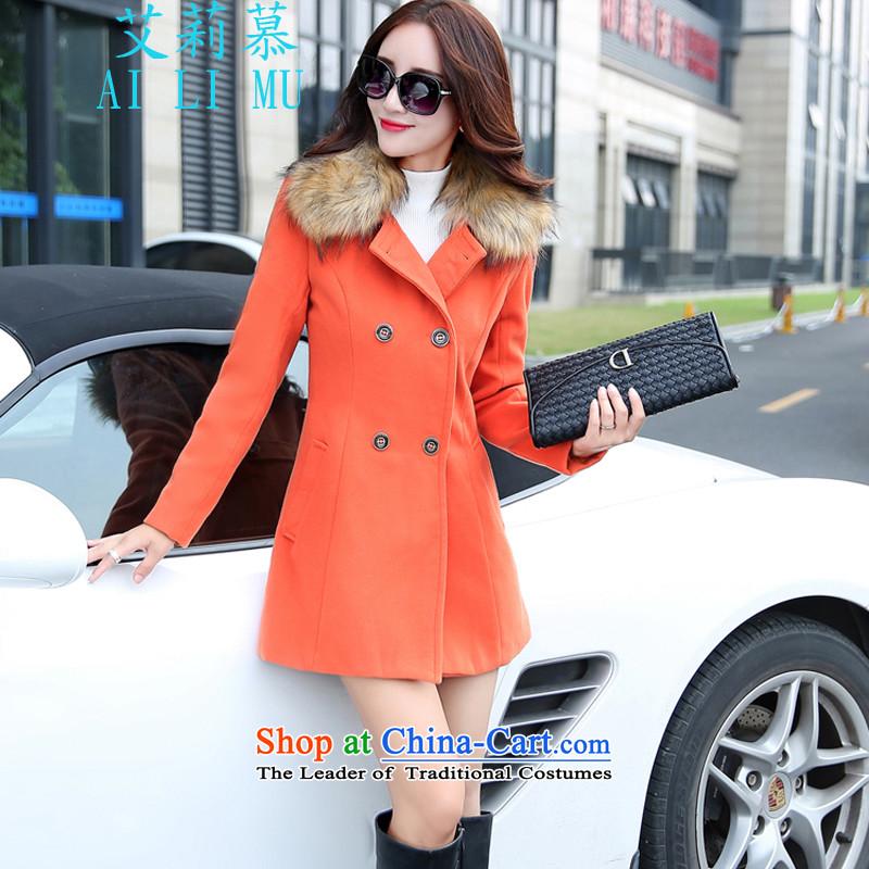 The ELISA2015 autumn and winter new Korean Sau San video thin hair? girls jacket long hair for Sau San a wool coat women Connie orangeM