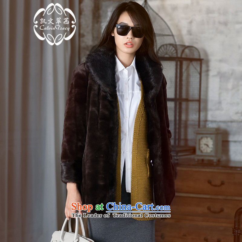 _Kevin Hong Kong CALVIN_TRACY sin- distinguished stylish reversible fur coats, collars in long coats of artificial fur red brown?XL