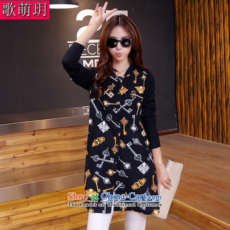 Song Of Yue xl autumn and winter 2015 new mm thick western stamp Sau San video thin stitching stand collar in long long-sleeved sweater jacket skirt Y8063 black 3XL(150-165 catty)