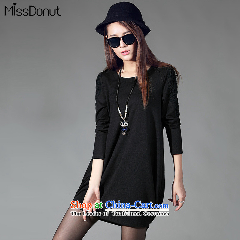 To increase the number missdonut women fall new product expertise sister who thick video thin mm_ lace stitching long-sleeved dresses won a large black skirt field XXL