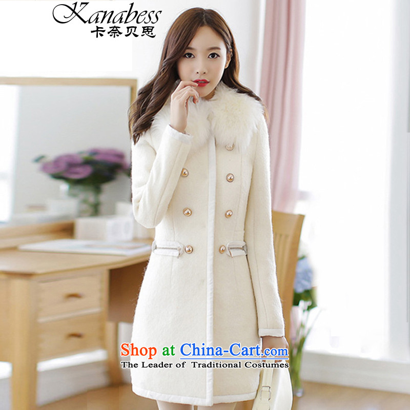 The Beth 2015 autumn and winter in new long hair? jacket double-sided a wool coat windbreaker female White XL