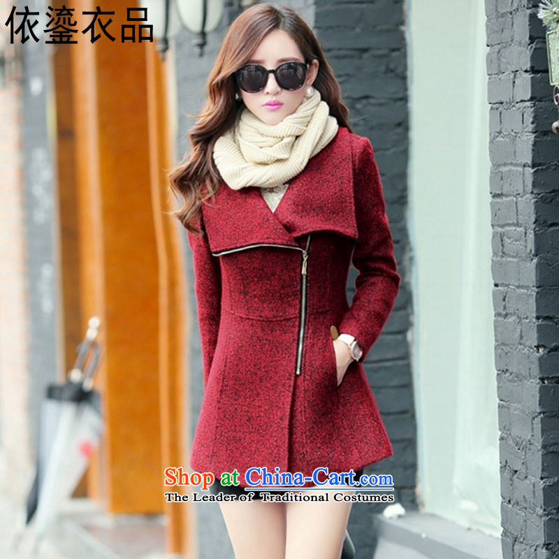 According to a 2015 autumn and winter clothing products new Korean lapel zipper wool rib cage so Sau San-coats temperament jacket video thin sweet windbreaker female red聽XL