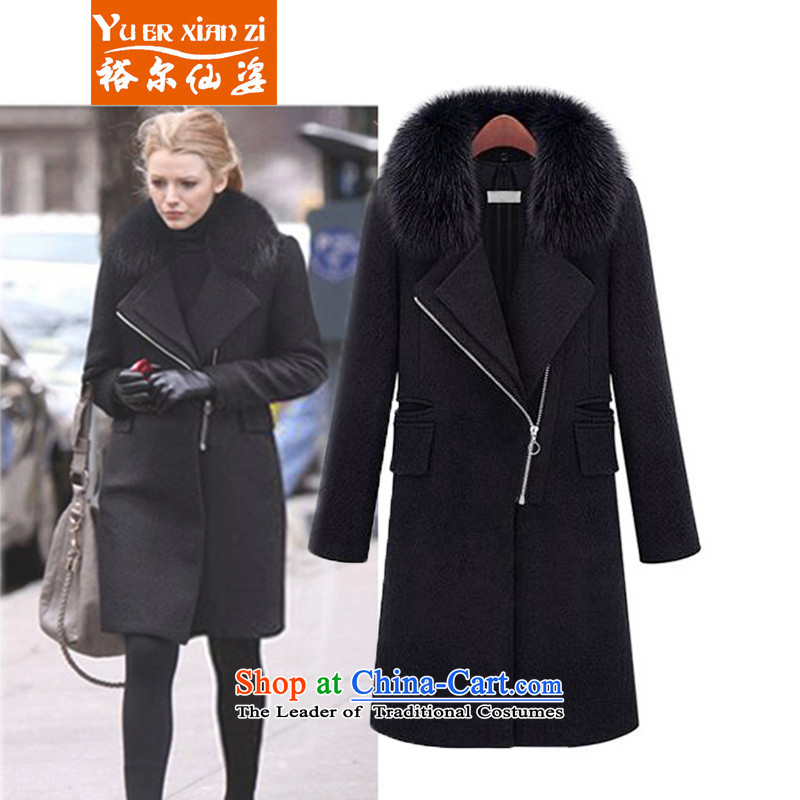 Yu-Sin-to increase women's code 2015 autumn and winter new thick mm thin wool is video     in the jacket gross for long-coats female black Connie�L爎ecommends that you 160-180 catty