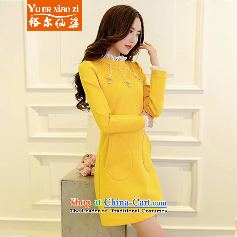 Yu-Sin-to increase women's code 2015 autumn and winter new mm thick Korean long-sleeved Pullover dresses in thin long graphics female shirts, forming the skirt 9611 Yellow�L爎ecommends that you 160-180 catty
