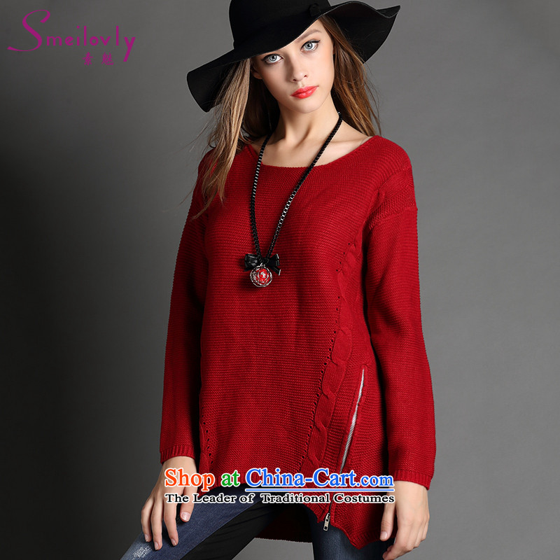 The dumping large women 2015 Autumn boxed version won new stylish long-sleeved very casual knitwear�  F1010 AFRONT HEADLIGHTS   燽ig red Code Red燲XL
