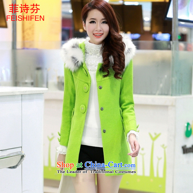 The Philippines poetry fun gross? autumn and winter coats women 2015 new Korean fashion Sau San wool coat girl in long?_ gross neckties cap wind jacket green燤