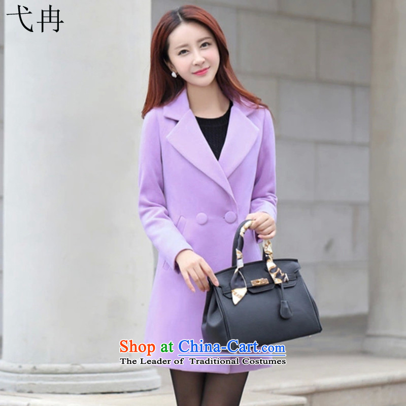 Cruise in the autumn and winter 2015 advanced new Europe, in long minimalist OL N380 gross Sau San? coats violet燲L