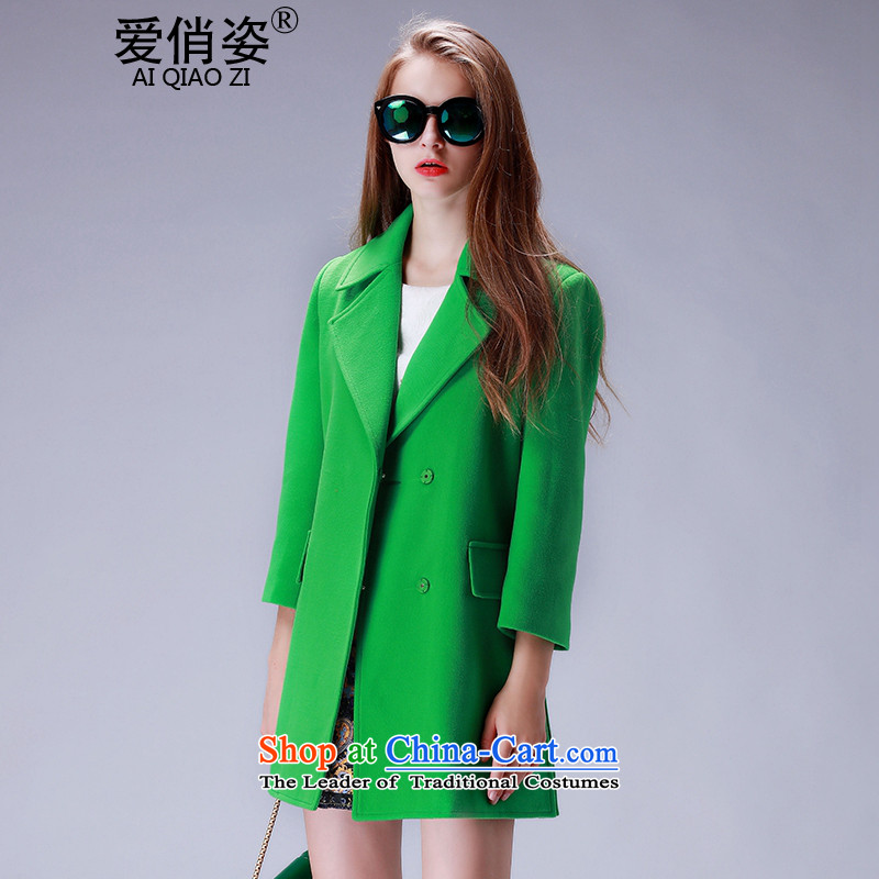 Love is the�15 autumn and winter Gigi Lai new ladies hair? Jacket Korean fashion in the long, thin graphics lapel single row clip hair? a jacket coat female green燲L