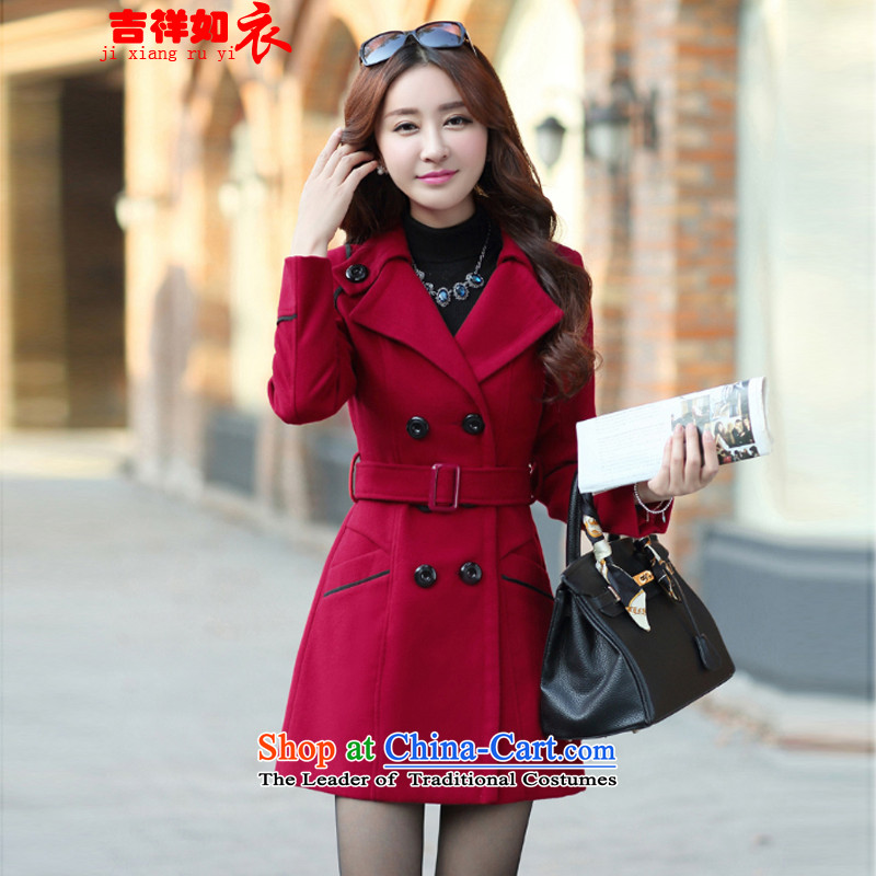 �15 Autumn as clothing and auspicious New stylish for women in the medium to long term, Sau San Mao jacket coat women? 8858 wine red燤