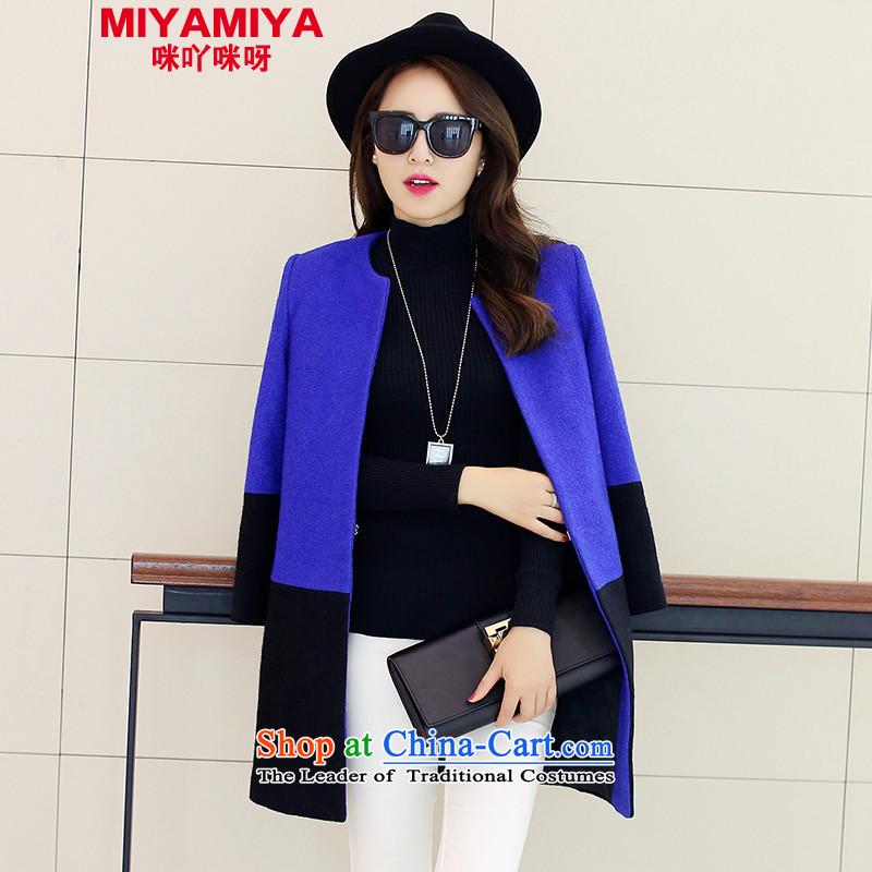 Load New MIYAMIYA2015 autumn colors and stylish lounge won hit version a wool coat jacket female blueXL