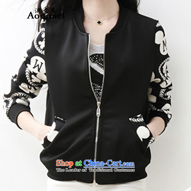 O Chi Mei _aoqimei_ 2015 new Korean version of large numbers of ladies thick MM video thin jacket to intensify cardigan 6036 Black聽XXXXL Jacket