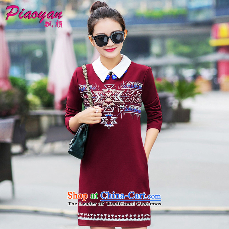 Mr NGAN 2015 large drift female winter long-sleeved shirt collar thick solid stylish dresses D319 wine red� L