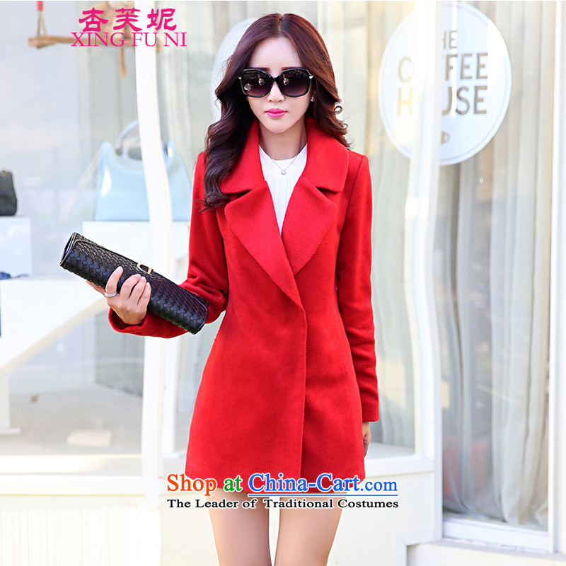 All Daphne 2015 autumn and winter new Korean president windbreaker solid long-sleeved lapel in Sau San long hair a wool coat jacket red S