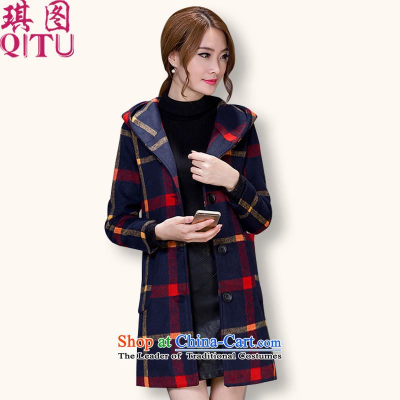 Qi 2015 Autumn and Winter, of the figure of women who are double-checked in the stylish long Wind Jacket coat female Red Hair? yellow L