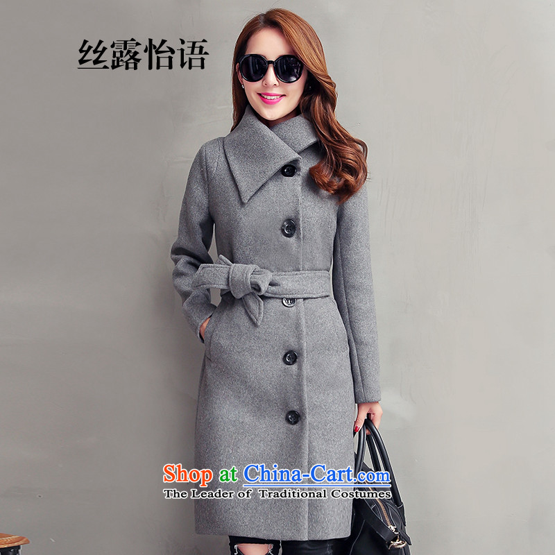 The population exposed in the autumn and winter Ms. Selina Chow coats that long stylish solid color leisure Sau San Mao? So coat jacket coat female 15220 through gray  M