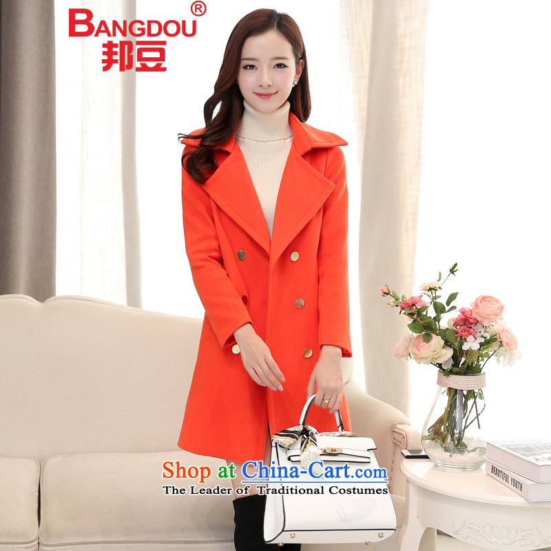 The state of the gross? 2015 autumn and winter coats female new larger female Korean Sau San double-in long hair a wool coat jacket female red-orange inTASHKENT (standard size