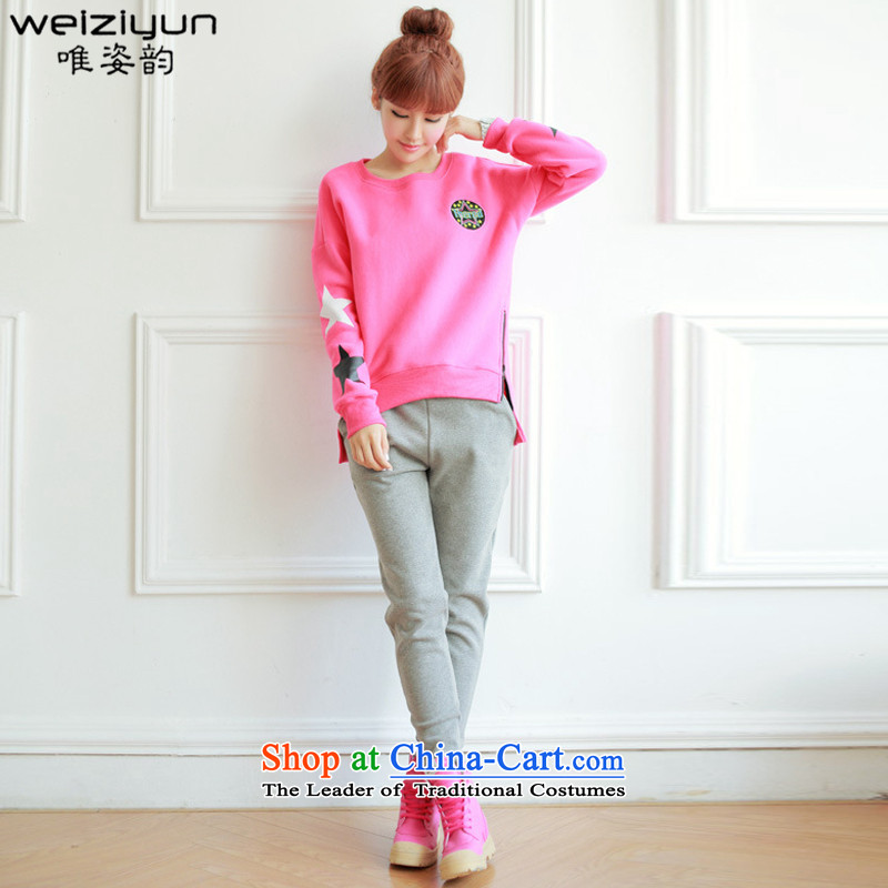 The following maximum code CD Amaral Women 2015 autumn and winter new Korean edition of the sportswear thick wool sweater stylish cartoon picture students Sau San video thin leisure wears women rose M