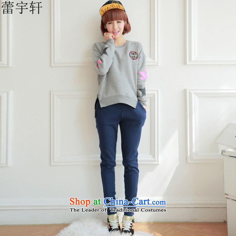 Lei Yu Hsuan larger women 2015 autumn and winter new Korean edition of the sportswear thick wool sweater stylish cartoon picture students Sau San video thin leisure wears female gray XL