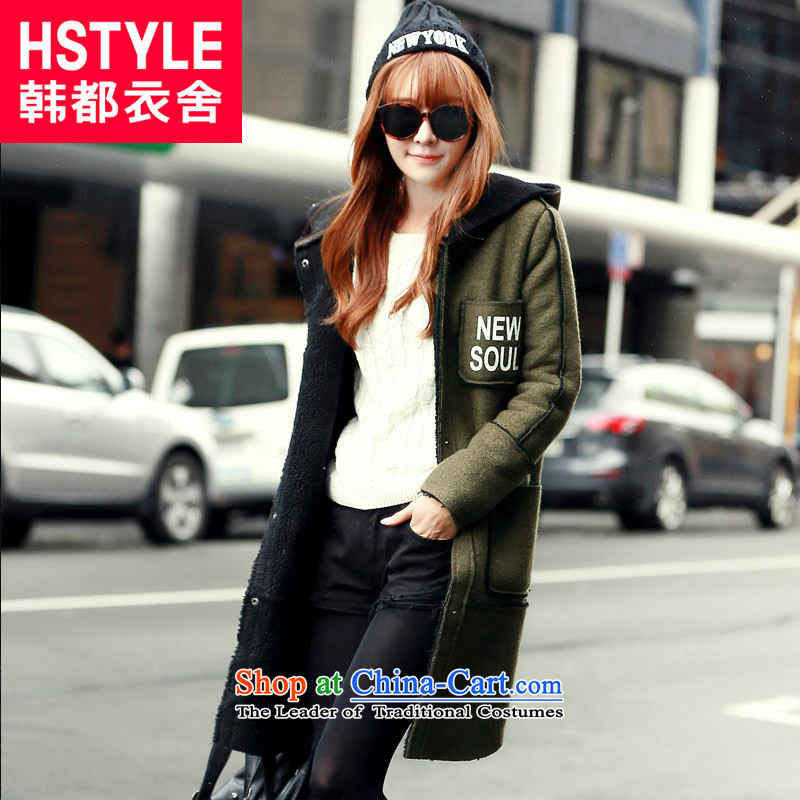 Korea has the Korean version of the Dag Hammarskjöld yi 2015 winter clothing new women's letter and video thin stamp gross?(2) Army green jacket LZ5829 M