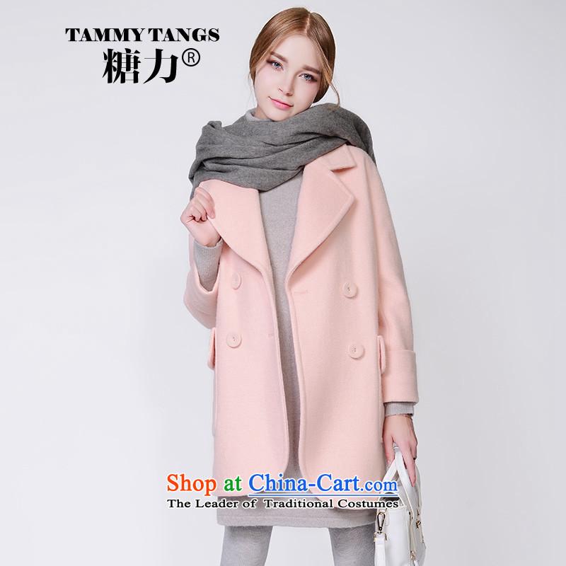 In2015 winter sugar new European site pink sweet lapel in long wool coat jacket women gross? honey powder _pre-sale 5 December shipment_ S
