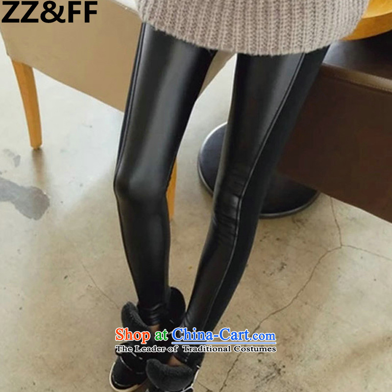2015 Autumn and winter Zz_ff new larger female thick mm200 catty to xl ultra-elastic stitching pu leather pants, forming the black trousers XXXXXL_ recommendations 180-200 catties_