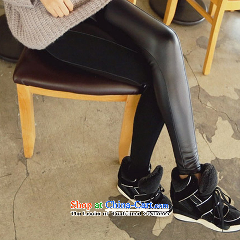 2015 Autumn and winter Zz&ff new larger female thick mm200 catty to xl ultra-elastic stitching pu leather pants, forming the black trousers聽XXXXXL( recommendations 180-200 catty ),ZZ&FF,,, shopping on the Internet