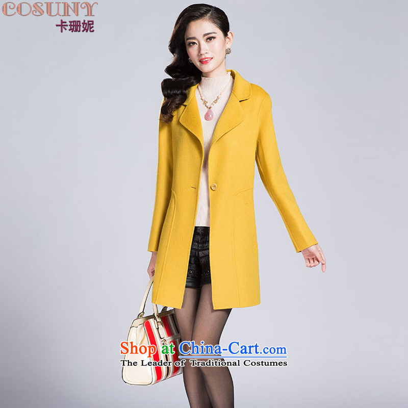 Card-SHAN NI 2015 autumn and winter new large double-side coats of Sau San long-sleeved sweater K1057 OL Yellow燤